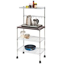 BOCCA Kitchen Baker Rack, Adjustable 4 Tiers Carbon Steel Multifunctional Moveable Microwaves Ra ...