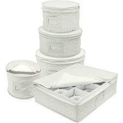 Sorbus Dinnerware Storage 5-Piece Set for Protecting or Transporting Dinnerware — Service for 12 ...