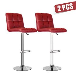 Set of 2 Bar Stools – PU Leather Kitchen Chair Pub Gas Swivel Counter Adjustable Height St ...