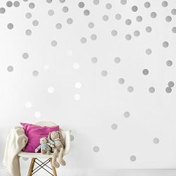 Silver Wall Decal Dots (200 Decals) | Easy Peel & Stick + Safe on Walls Paint | Removable Me ...