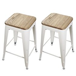 GIA Cream White 24″ Metal Stool with Wooden Seat(Set of 2) – Counter Height Square B ...