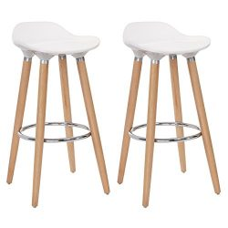 SONGMICS Set of 2 Bar Stool Chair Kitchen Breakfast Swivel Barstool with Beechwood Legs Height 2 ...