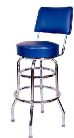 Budget Bar Stools 1958BLU Double Ring Commercial Bar Stool with Back, 20″ L x 17″ W  ...