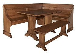 3-Pc Kitchen Nook Dining Set in Pecan Finish