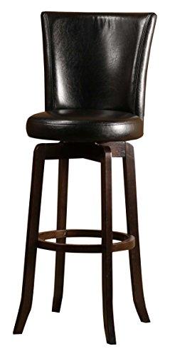 Hillsdale 4951-826 Copenhagen Swivel Counter Stool, Black Leather