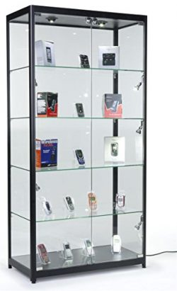 Tempered Glass Curio Cabinet With 8 Halogen Lights, 78 x 40 x 16.5-Inch, Free-Standing, Locking  ...