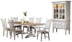 Haggens Rusticated Country 10PC Dining Set Table, 2 Arm Chair, 6 Side Chair, Buffet & Hutch  ...