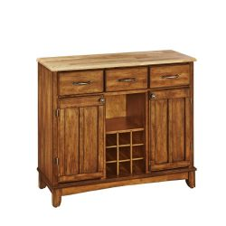 Home Styles 5100-0061 Natural Wood Top Buffet Server, Cottage Oak Finish, 41-3/4-Inch