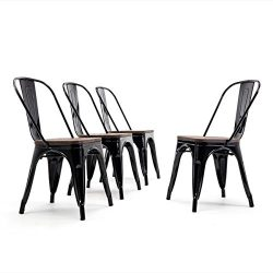 Belleze Modern Style Metal Industrial Stackable Bistro Dining Chairs Set of 4 Wood Seat Cafe Bar ...