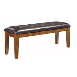 Upholstered Dining Bench, Made with Select Acacia Veneers and Hardwood Solids, Gently Distressed ...