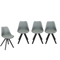 YUIKY Modern Style Eames Dining Chair PU Cushion Natural Wood Legs Armless Chair For Dining Room ...