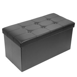 Amoiu 30″ L Faux Leather Folding Storage Ottoman Coffee Table Foot Rest Stool Seat Comfy S ...