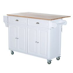 HOMCOM Wooden Top Drop-Leaf Rolling Kitchen Island Table Cart With Storage Cabinets – White