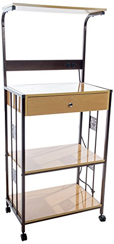 Home Source Industries R0018 Beech Microwave Cart with 2 Electrical Outlets/Drawer and 2 Shelves ...