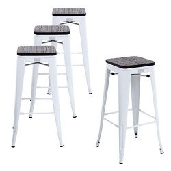 Buschman Set Four White Wooden Seat 30 inches Counter Height Tolix-Style Metal Bar Stools, Indoo ...