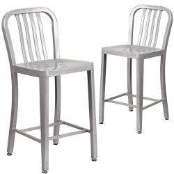 """Flash Furniture 2 Pk. 24"""" High Silver Metal Indoor-Outdoor Counter Height Stool with Verti ..."""