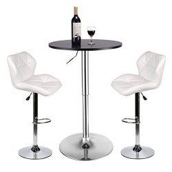 Bar Table and Chairs Set of 3 – Heigh Adjustable Round Table and 2 Swivel White Pub Stools for D ...