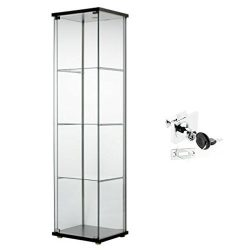 Ikea Detolf Glass Curio Display Cabinet Black, Lockable, Lock Is Included