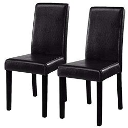 Costway Set of 2 Parson Chairs Elegant Design Leather Modern Dining Chairs Dining Room Kitchen F ...