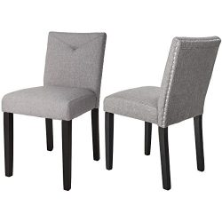 Harper & Bright Designs Set of 2 Classic Dining Chairs with Nailhead Detail and Solid Wood L ...