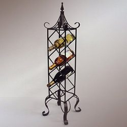 J&J Wire Free Standing Vertical Wine Rack, Bronze
