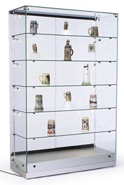 48″w Glass Display Cabinet with 5 Height-Adjustable Glass Shelves and 10 Side Lights, Curi ...