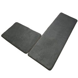 Memory Foam Kitchen Rugs Mats Set,SHACOS 2 Pack Sponge Area Rugs SBR Rubber Backing Anti-Fatigue ...