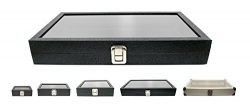 Novel Box Large Glass Top Black Leatherette Metal Clasp Jewelry Display Case 14.75X8.25X2.1&#824 ...