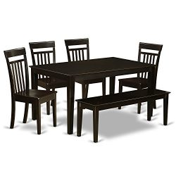 East West Furniture CAP6S-CAP-W 6-Piece Kitchen Table Set with Bench