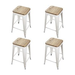 GIA Cream White 24″ Metal Stool with Wooden Seat(Set of 4) – Counter Height Square B ...