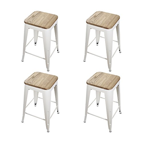 Gia Cream White 24 Quot Metal Stool With Wooden Seat Set Of 4