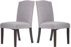 Merax Fabric Dining Chairs Set of 2 with Solid Wood Legs Dining Room Furniture with Nailed Trim  ...