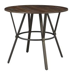 O&K Furniture Vintage Round Dining Table, Wooden Top Metal Frame Bar Table, Rustic Brown  ...