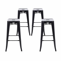 Buschman Set of Four Matte Black 30 Inches Counter Height Tolix-Style Metal Bar Stools, Indoor/O ...