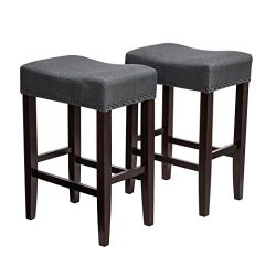 SONGMICS Counter Stools, Bar Stools Set of 2, Solid Wood Legs, Cotton-linen Fabric, Well-padded  ...