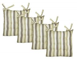 Cotton Craft – 4 Pack Natural Light Olive Salsa Stripe Dining Chair Pad Cushion with Ties