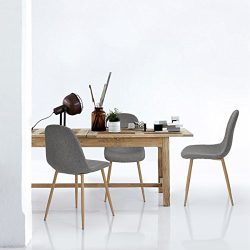 Set of 4 Eames Style Side Chair Metal Legs Fabric Cushion Seat and Back for Dining Room Chairs i ...