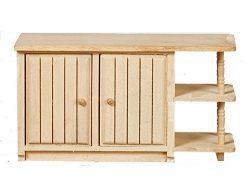 Melody Jane Dollhouse Island End Unit Unfinished Bare Wood Miniature Kitchen Furniture