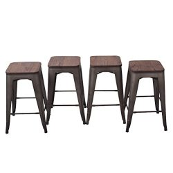 HAOBO Home 26″ Backless Metal Counter Stool Height Barstools With Wooen Seat [Set Of 4] fo ...