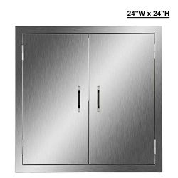 CO-Z Stainless Steel BBQ Door, 304 Brushed SS Double Access Doors for Outdoor Kitchen, Commercia ...