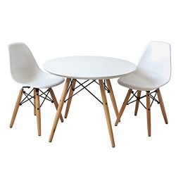 Buschman Set of Table and 2 White Kids Eames Style Retro Modern Dining Room Mid Century Shell Ch ...