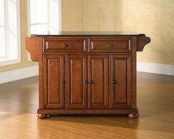 Crosley Furniture Alexandria Kitchen Island with Solid Black Granite Top – Classic Cherry