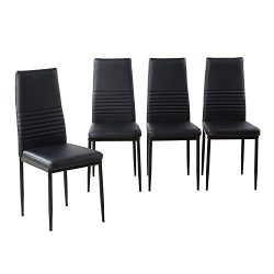 Modern Desk Chair, Dining Side Chairs set of 4, Upholstered Cushion Black PU Leather High Back C ...