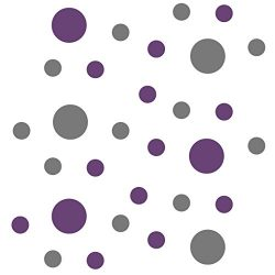 Set of 30 – Circles Polka Dots Vinyl Wall Graphic Decals Stickers (Grey/Purple)