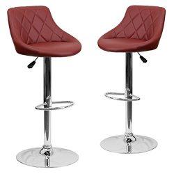 Belleze 2-PC Bucket Style Seat Adjustable Bar Stool w/Footrest Chrome Base, Dark Red