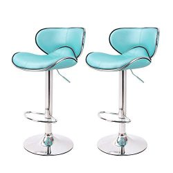 Circlelink Hydraulic Lift Curved Seat Cushioned Adjustable Swivel Counter Barstool, Set of 2  ...