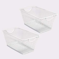 SLPR Office Desktop Organizer Wire Basket (Set of 2, White) | Classroom Craft Room Kitchen Pantr ...