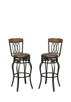Poundex PDEX-F1524 Bobkona Earline 29″ Seat Height Swivel Bar Stool, Brown, Set of 2