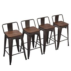Yongchuang Metal Counter Height Bar Stool for Indoor-Outdoor(Pack of 4) Wood Top Low Back, 24″