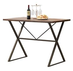 "O&K Furniture Industrial Style Dining Table, Multifunctional Space Saving Desk, 48"" Wood Ven ..."